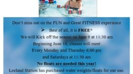 Water Aerobics Returns (New Start Date)
